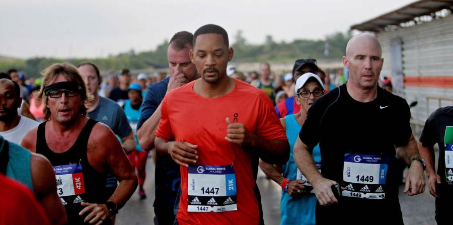 El actor Will Smith corrió en Marabana 2018.