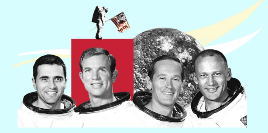 Ellos son los cuatro astronautas con vida que pisaron la Luna:  Harrison Schmitt, David Scott, Charles Duke y Buzz Aldrin  (horizontal-x3)