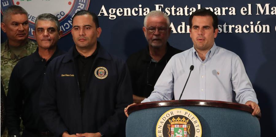 El gobernador Rosselló Nevares dirige la conferencia de prensa en la que se ofrecen detalles del paso cercano de Irma. (horizontal-x3)