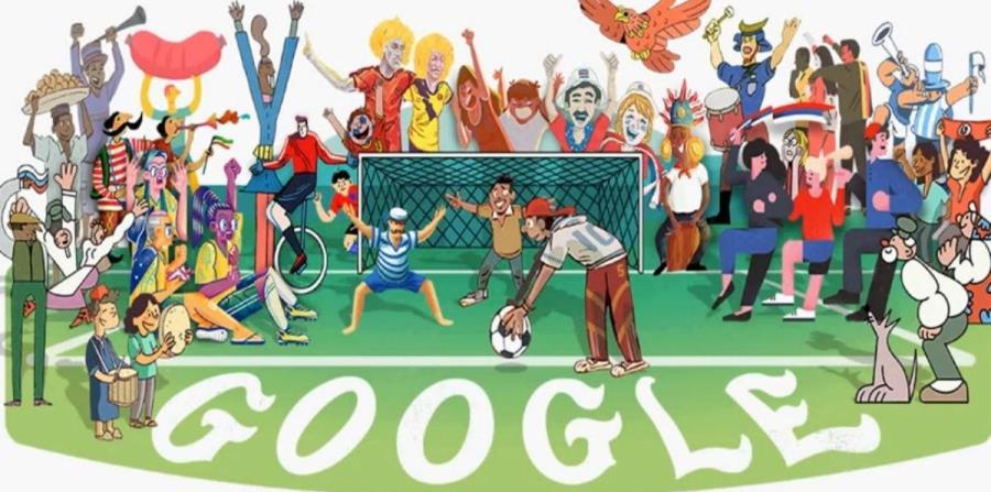 Con este doodle creado por Gluekit, Google inició la serie de 32 ilustraciones. (horizontal-x3)
