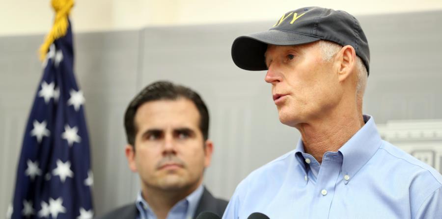 Ricardo Rosselló, junto al gobernador de Florida, Rick Scott, en una de las múltiples visitas que ha realizado a la isla tras el paso del huracán María. (GFR Media) (horizontal-x3)