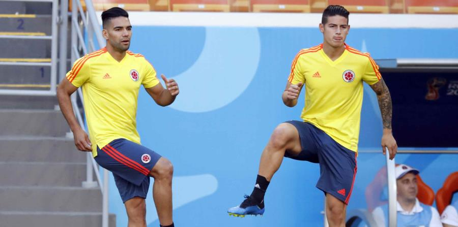 Los colombianos esperaban ver a la dupla de James y Radamel Falcao, quien debutará en un Mundial después de haberse perdido el pasado torneo debido a una lesión de ligamentos en la rodilla. (horizontal-x3)
