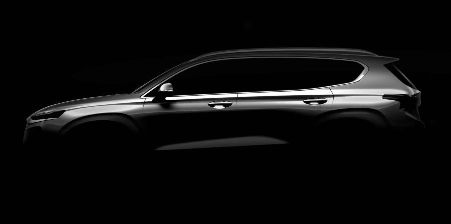 Silueta del nuevo Hyundai Santa Fe, que será mostrada al público a principios de marzo de 2018. (horizontal-x3)