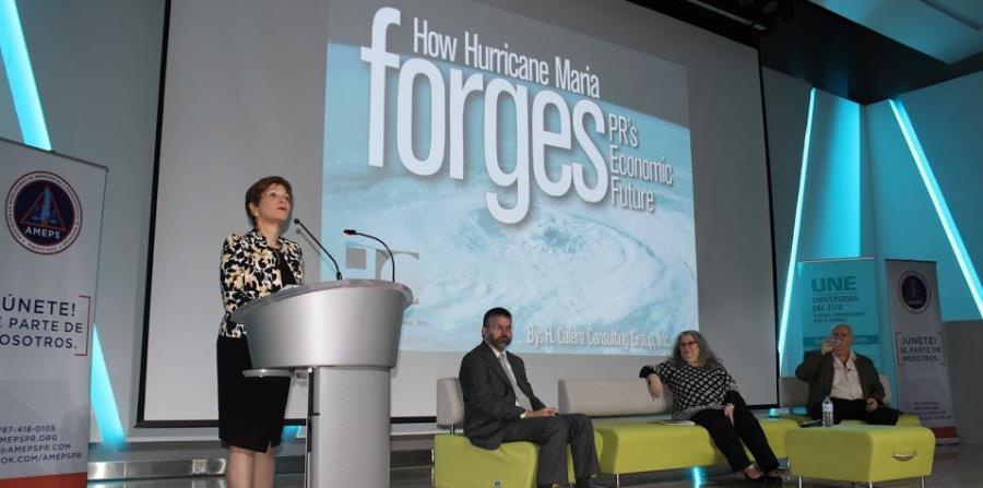 La economista Heidie Calero presentó los resultados del estudio durante la conferencia