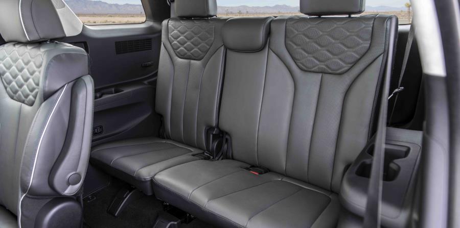 El Palisade brinda asientos para hasta ocho pasajeros y un amplio espacio de carga con componentes para la conveniencia como una tercera fila de asientos movidos por electricidad.