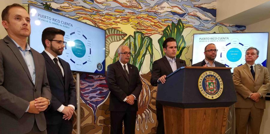 El gobernador Ricardo Rosselló en plena conferencia de prensa. (horizontal-x3)
