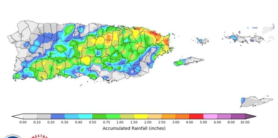 Registro preliminar de acumulación de lluvia para Puerto Rico e islas vírgenes desde el 26 al 28 de enero de 2020. (NOAA)