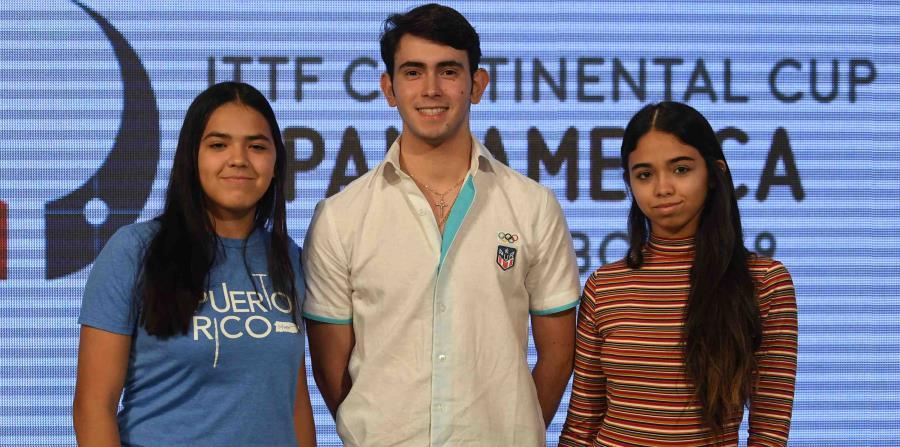 Adriana Díaz, Brian Afanador y Melanie Díaz (de izq. a der.) representarán a Puerto Rico en la III Copa Panamericana de Tenis de Mesa en Guaynabo. (horizontal-x3)