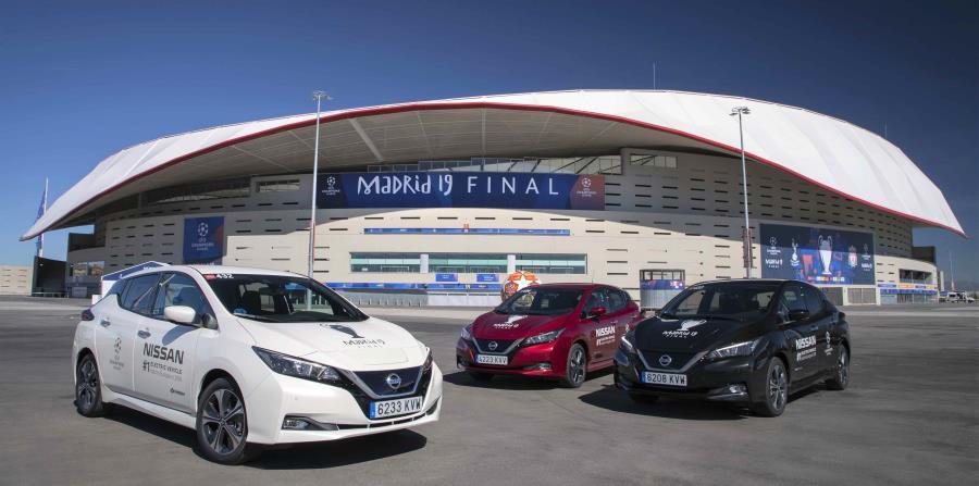 Los modelos Nissan Leaf sirvieron como los vehículos oficiales de la final de la Champions League en Madrid. (Suministrada)