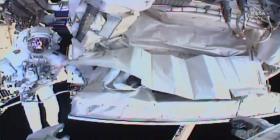 Astronautas en la Estación Espacial Internacional tapan fuga en detector de rayos cósmicos
