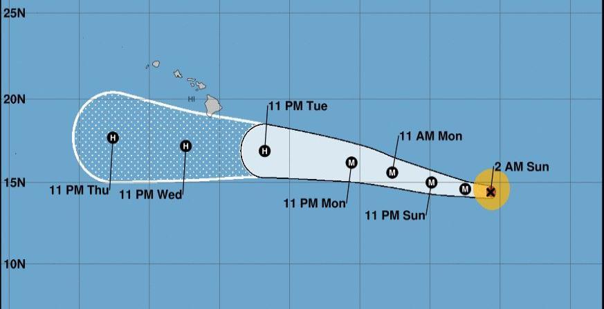 Huracán Héctor atraviesa el océano Pacífico hacia el oeste