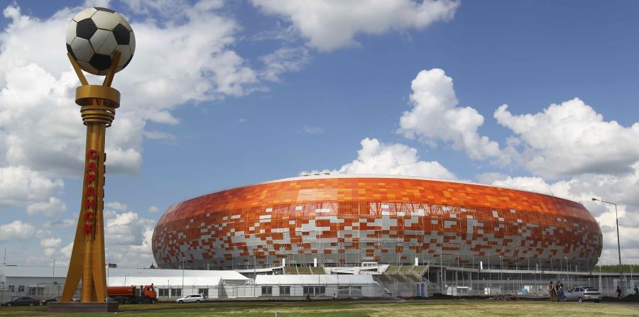 El nuevo estadio para la Copa Mundial, Mordovia Arena, en Saransk, Rusia. (AP) (horizontal-x3)