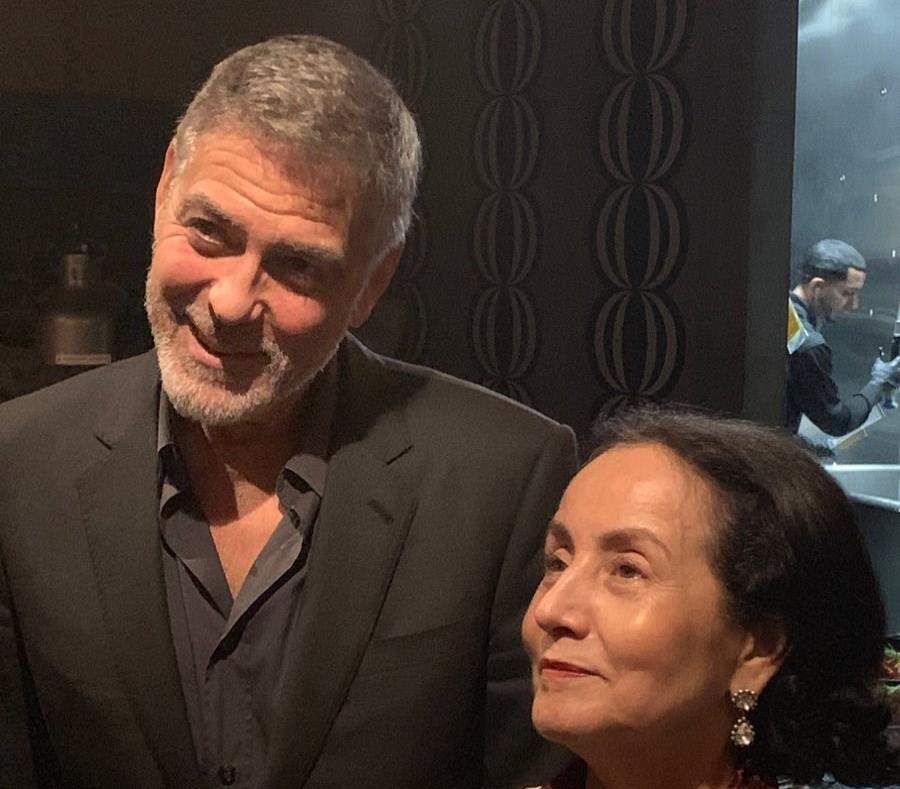 George Clooney cenó también con Lin-Manuel Miranda y el chef José Andrés. (Twitter) (semisquare-x3)
