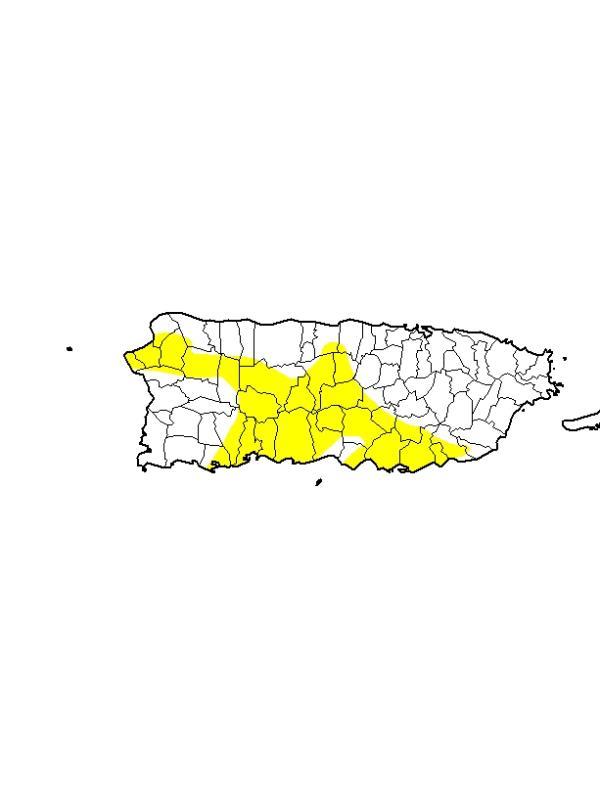 Mapa de las áreas de Puerto Rico con condiciones atípicamente secas. (NOAA)