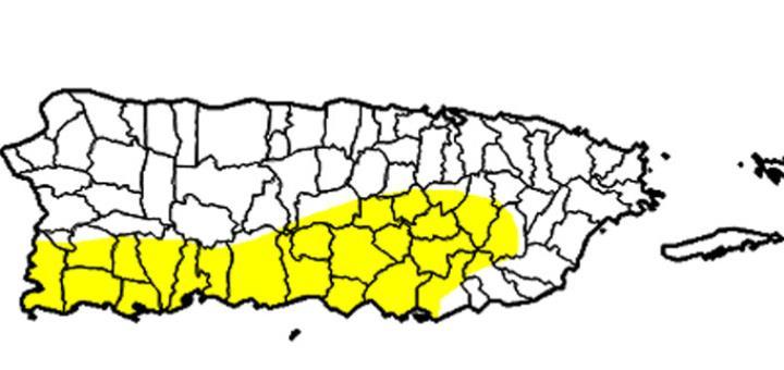 """El mapa muestra en amarillo las zonas afectadas por el periodo """"anómalamente seco"""". (Captura / droughtmonitor.unl.edu) (horizontal-x3)"""