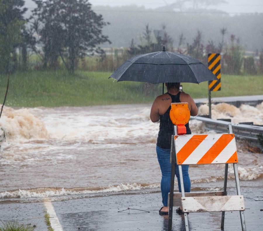 Vista de las inundaciones provocadas por las lluvias del huracán Lane en Hilo, Hawaii (semisquare-x3)