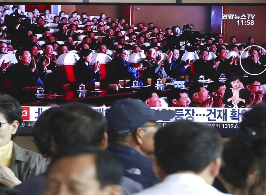 Kim Yong-chol participó junto a Kim Jong-un de un concierto musical en Pyongyang, Corea del Norte. (AP) (semisquare-x3)