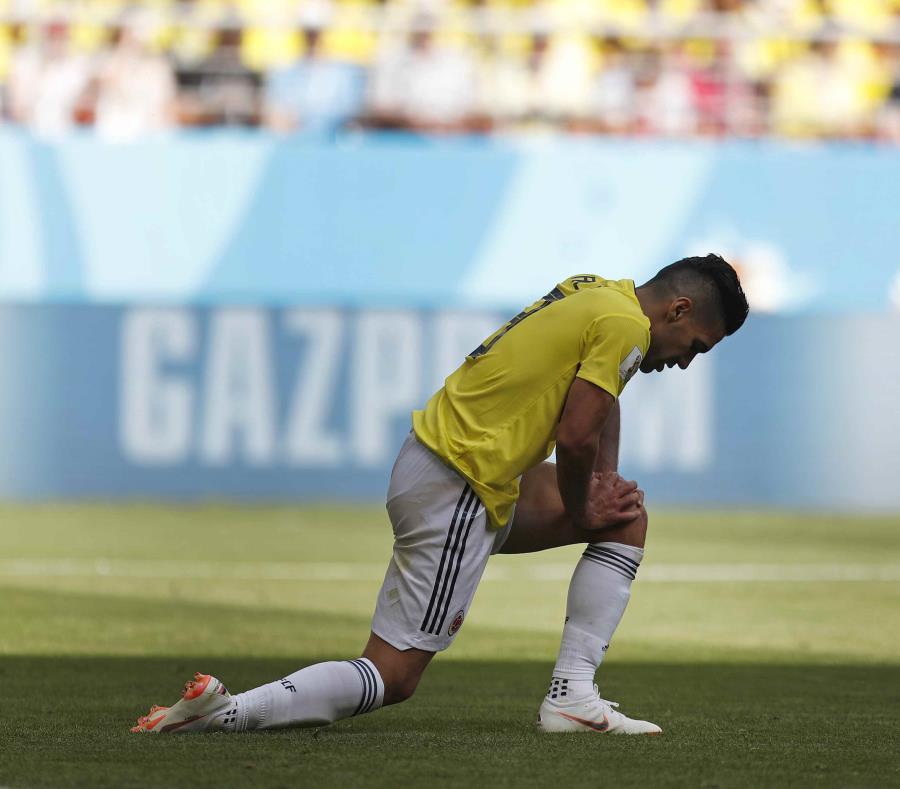 El delantero de Colombia Radamel Falcao durante el partido del Grupo H del Mundial en Saransk, Rusia, el martes 19 de junio de 2018 (semisquare-x3)