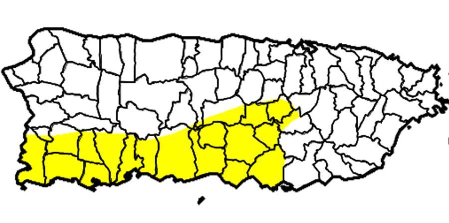 En amarillo, se observa la zona clasificada como anómalamente seca por el Monitor Federal de Sequía. (Captura / droughtmonitordev.unl.edu) (horizontal-x3)