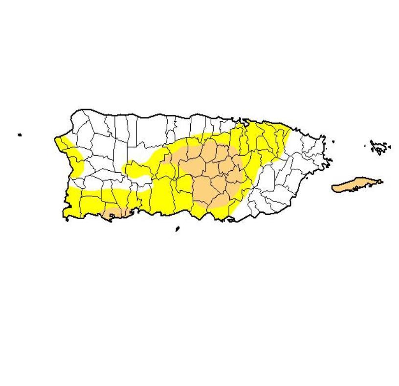 El término de sequía moderada significa que condiciones de escasez de agua están por desarrollarse. El fenómeno podría afectar los cultivos de las zonas bajo advertencia. (semisquare-x3)