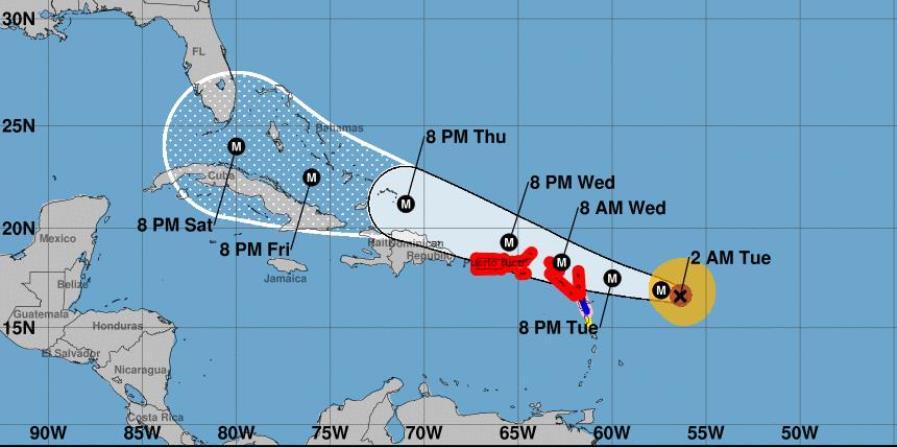 El huracán Irma debe seguir en dirección oeste hasta tarde el martes, para luego dar un giro al oeste noroeste en ese mismo día. (horizontal-x3)