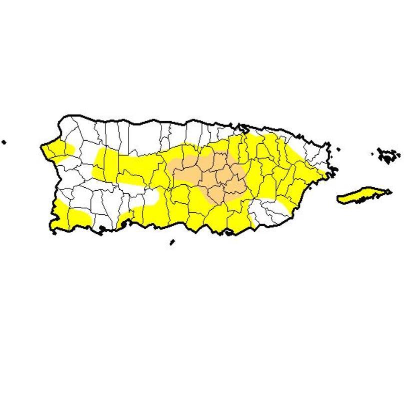Aunque las condiciones anormalmente secas registraron una leve reducción, el nivel de sequía moderada mantiene en distintos pueblos de la isla. (semisquare-x3)