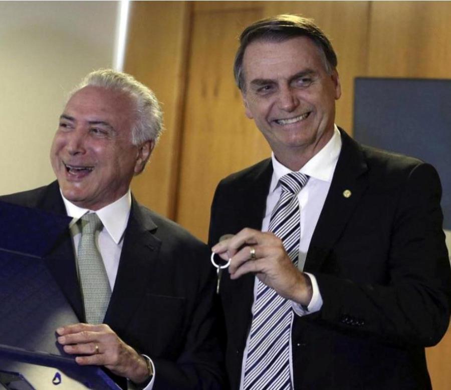 Michel Temer recibió en el Palacio del Planalto (casa de Gobierno de Brasil) al mandatario electo, Jair Bolsonaro (semisquare-x3)