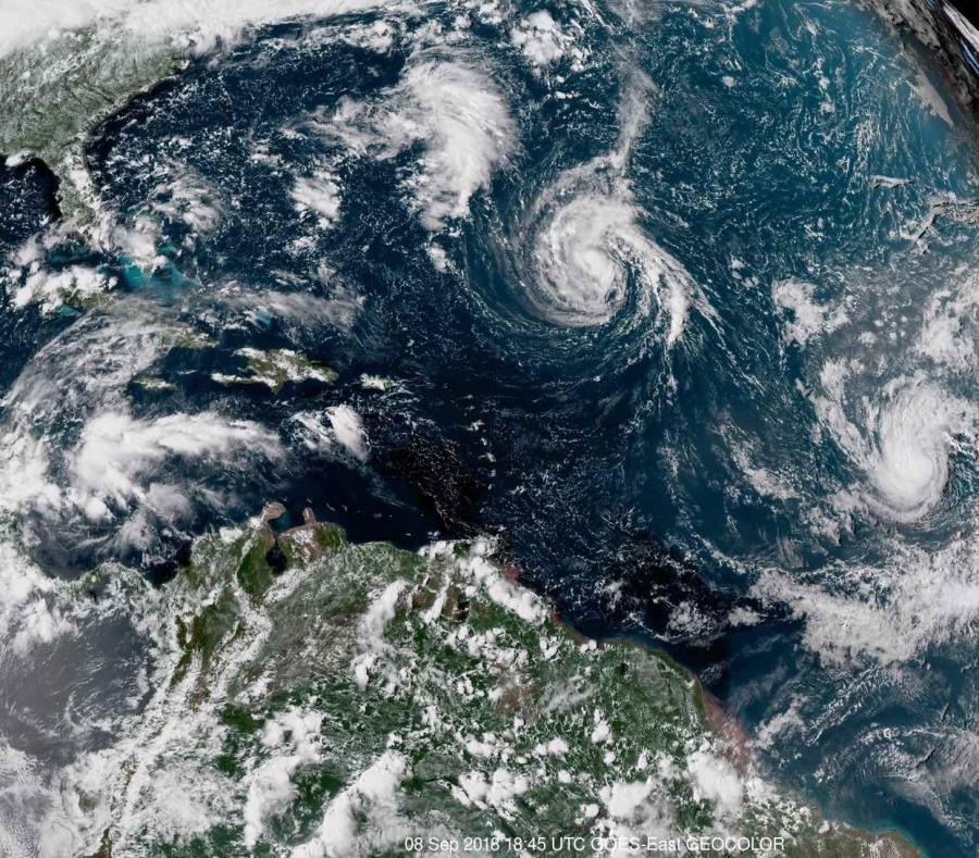 Imagen de satélite de la NOAA que muestra la tormenta tropical Florence. (AP) (semisquare-x3)