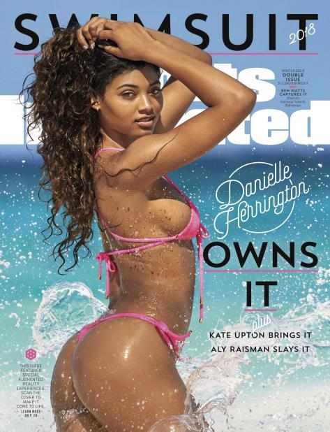 En esta imagen proporcionada por Sports Illustrated, Danielle Herrington en la portada de la edición de trajes de baño de 2018. (AP) (vertical-x1)
