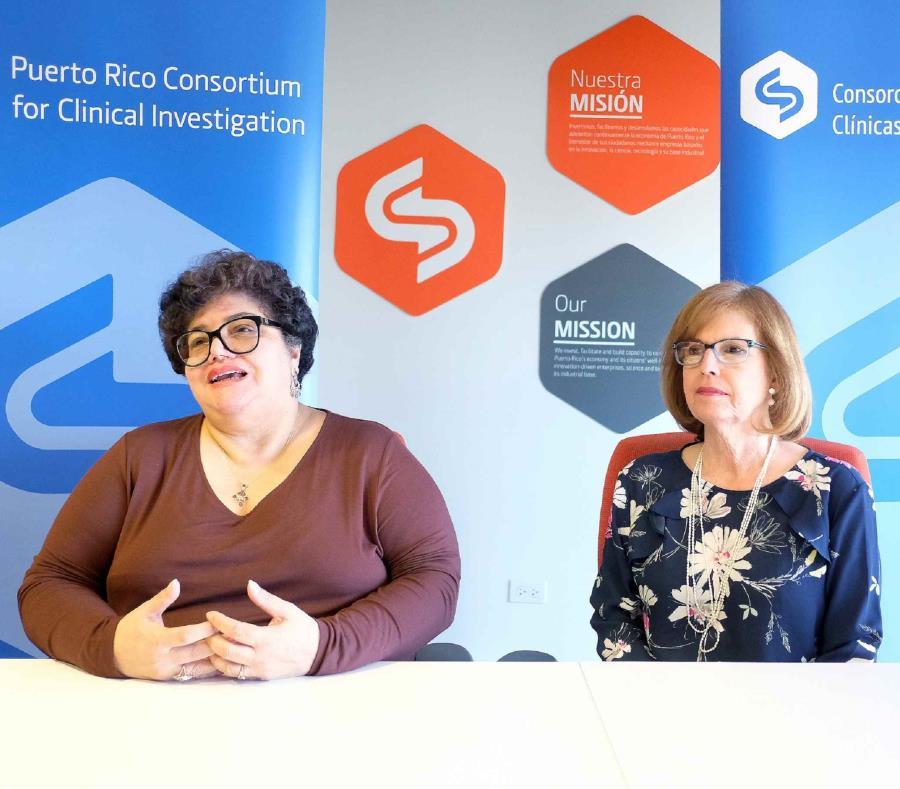 Desde la izquierda, Lucy Crespo, principal ejecutiva del Fideicomiso de Ciencia, Tecnología e Investigación, junto a la doctora Amarilys Silva, directora ejecutiva del Consorcio de Investigación Clínica de Puerto Rico. (Suministrada) (semisquare-x3)