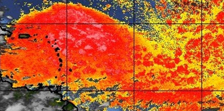 Imagen del Saharan Air Layer en el que se observa en rojo la gran concentración de polvo del Sahara que llega al Caribe. (Captura / tropic.ssec.wisc.edu) (horizontal-x3)