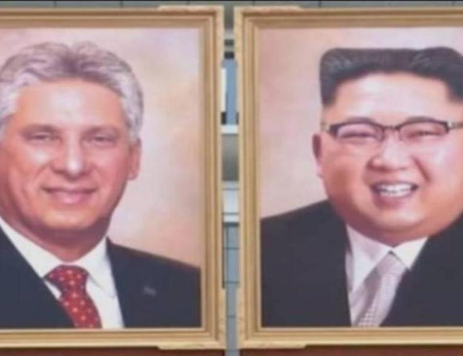 Corea del Norte exhibe el primer retrato oficial de Kim Jong-un  junto al presidente de Cuba Miguel Díaz-Canel (semisquare-x3)