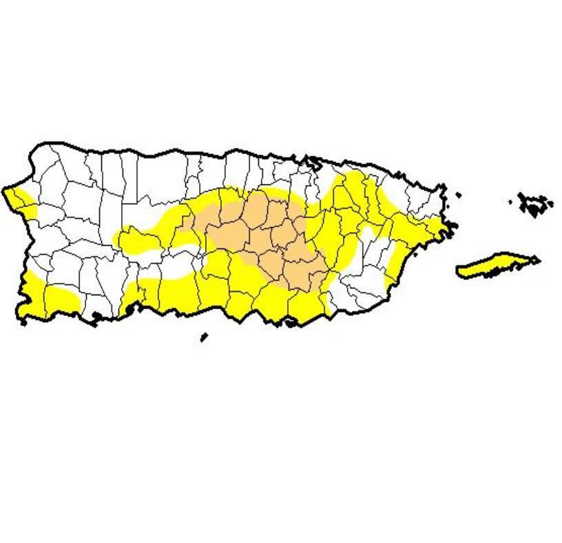 Jayuya y Guayama ahora se encuentran bajo condiciones de sequía moderada. (semisquare-x3)