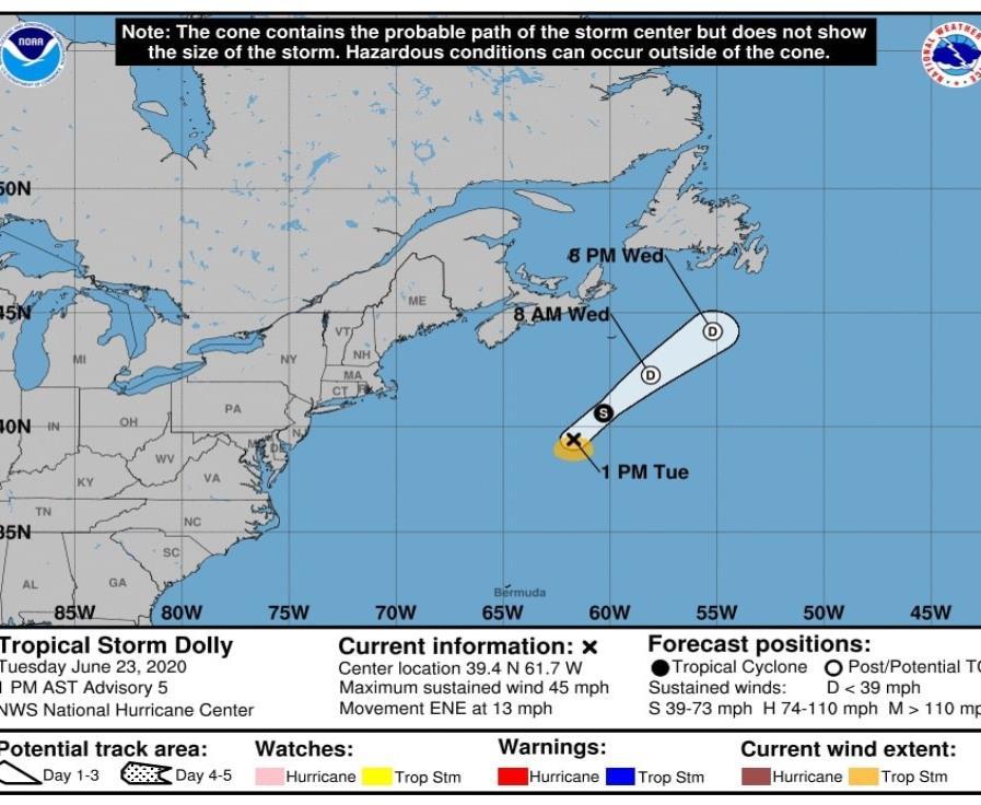 Se desarrolla el ciclón Dolly sobre el Océano Atlántico