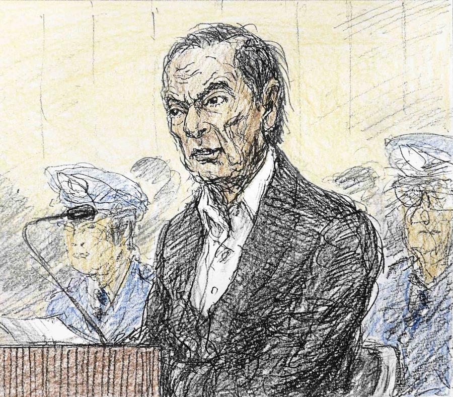 Un boceto judicial del expresidente de Nissan Carlos Ghosn. (semisquare-x3)