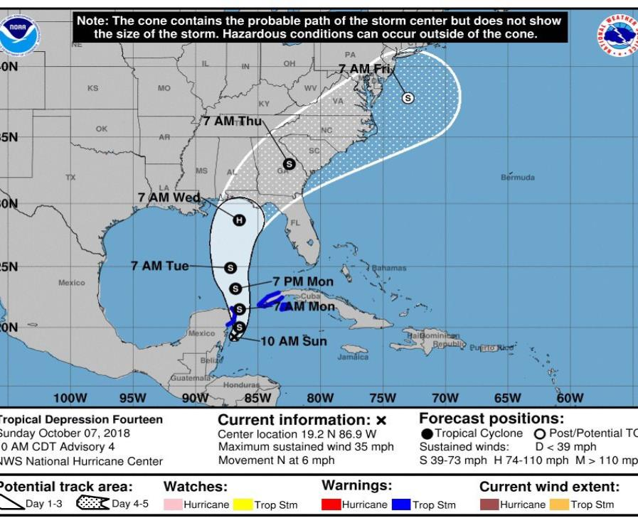 Imagen del Centro Nacional de Huracanes que muestra el pronóstico de movimiento de los próximos cinco días de la tormenta tropical Michael. (EFE / NHC) (semisquare-x3)