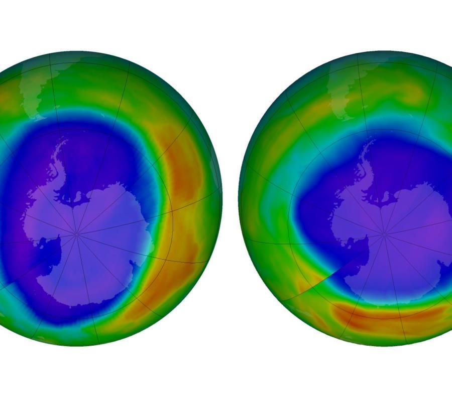 En esta combinación de imágenes proporcionada por la NASA se muestran zonas de bajo potencial de agotamiento de la capa de ozono sobre la Antártida en septiembre de 2000 y en septiembre de 2018