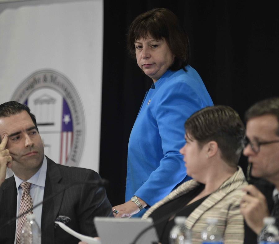De izquierda a derecha, José Carrión III, Natalie Jaresko, Ana Matosantos y David Skeel Jr. (GFR Media) (semisquare-x3)