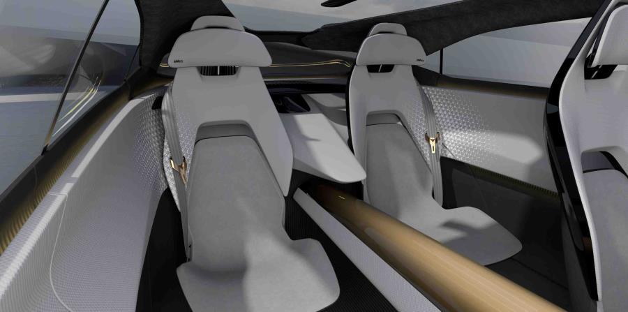 Cada asiento tiene acabados en un tejido técnico 3D de dos tonos, cortado con láser en un diseño geométrico inspirado en la madera japonesa de kumiko.  (Suministrada)