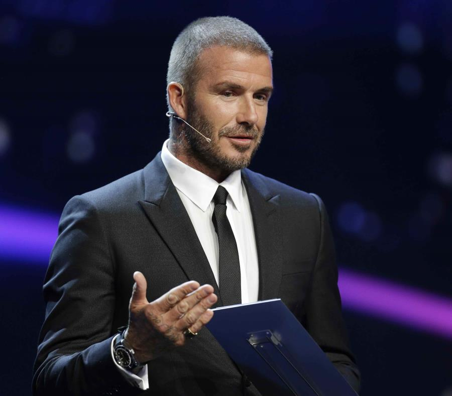 David Beckham durante el sorteo de la Liga de Campeones de la UEFA en Mónaco, el jueves 30 de agosto de 2018.  (AP) (semisquare-x3)