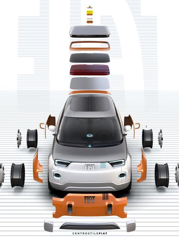 El Fiat Concept Centoventi es un vehículo eléctrico completamente personalizable con 120 accesorios diferentes diseñados por Mopar. (Suministrada)
