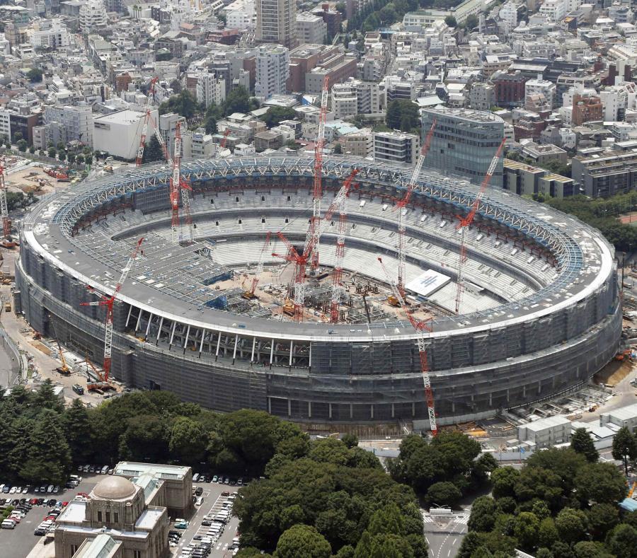 Foto del 11 de julio de 2018 con una vista a rea del Estadio Nacional de los Juegos Olímpicos de Tokio 2020. (Kyodo News vía AP) (semisquare-x3)