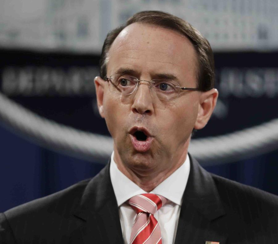 El subsecretario de Justicia federal, Rod Rosenstein, en la sede del departamento en Washington. (semisquare-x3)