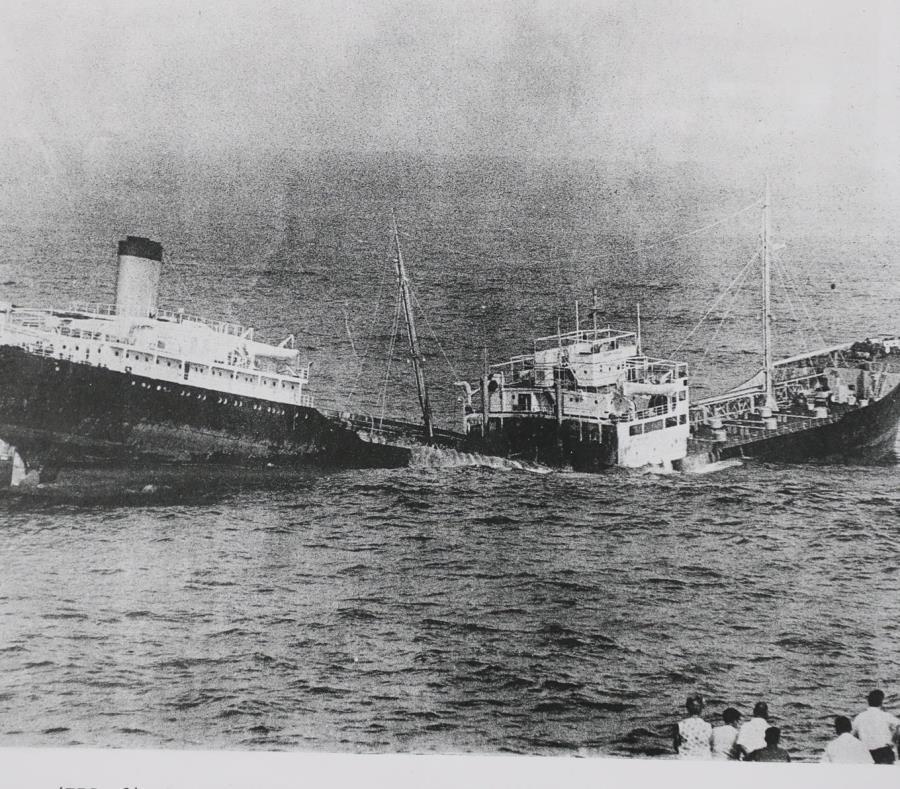 """El buque """"Ocean Eagle"""" que se hundió en la bahía de san juan"""