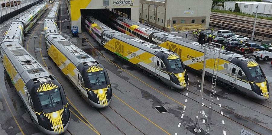 Imagen de los trenes de la compañía Brightline en Florida. (GFR Media) (horizontal-x3)