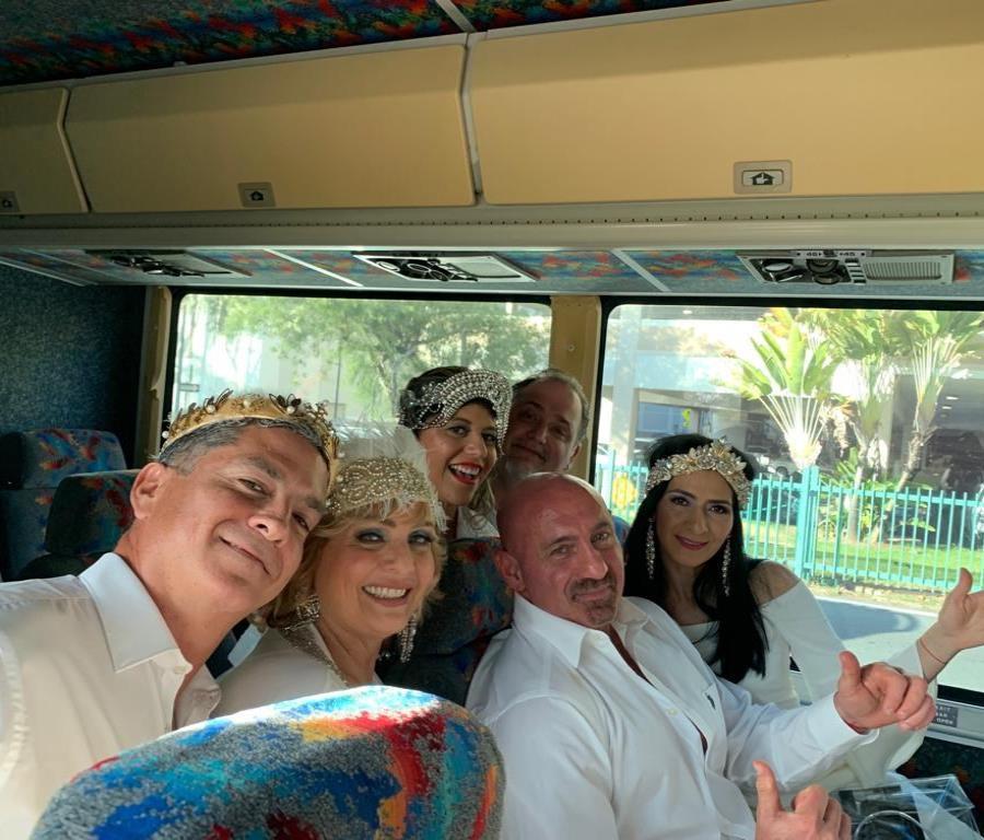 Alfredo Herger y su familia de camino al