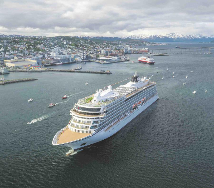 En la foto el Viking Sky, gemelo del crucero Viking Sun que arribó a la isla. (GFR Media) (semisquare-x3)