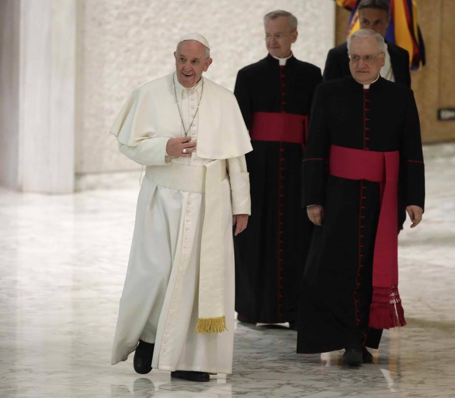 El papa dio el sábado un discurso a estudiantes y docentes del Colegio San Carlo de Milán. (AP/ Alessandra Tarantino) (semisquare-x3)