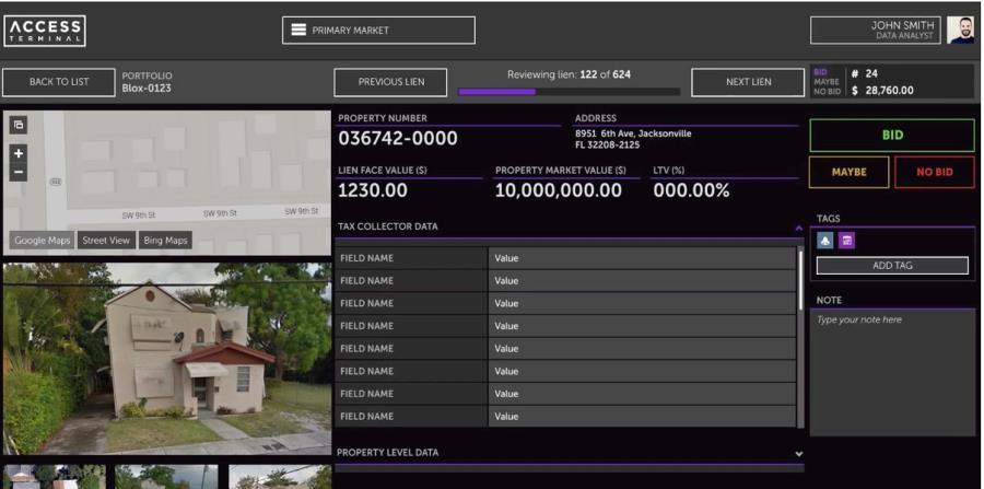 """Representación de la plataforma Access Terminal, que junto a MapPlus permite a quienes invierten en el mercado de gravámenes contributivos contra la propiedad (""""tax liens"""") conocer el estado de sus inversiones. (horizontal-x3)"""
