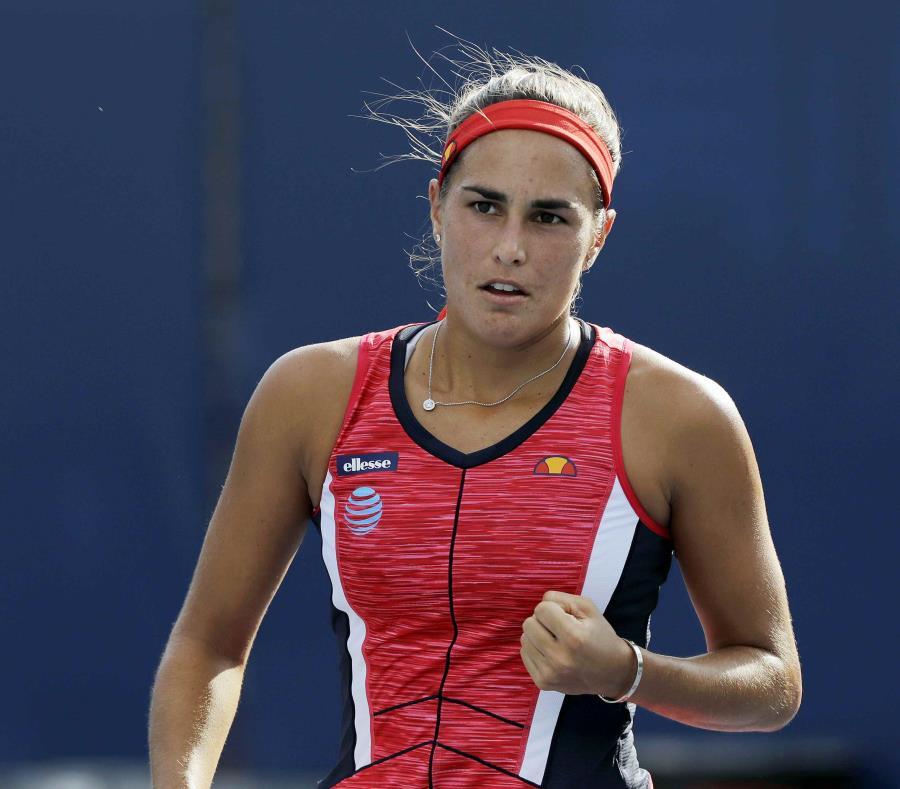 Mónica Puig reacciona durante el partido de primera ronda del Abierto de Estados Unidos. (AP) (semisquare-x3)